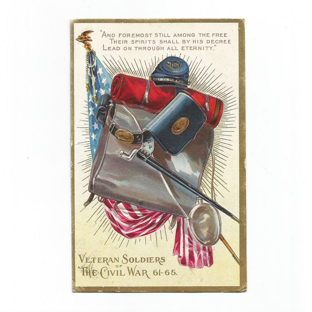 Civil War Veterans Embossed Post Card with Flag and Sword