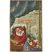 Embossed Santa at The North Pole Wireless Co Northern Lights and Stars