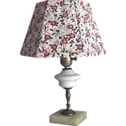 Small Table Lamp with Milk Glass Font and Marble Base