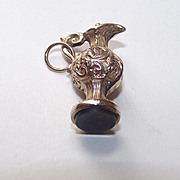 SALE Grecian Style Ewer English Fob with Blood Stone Seal