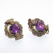 1930s Violet Purple Stone Clips Style Earrings