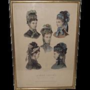 La Mode Illustree'  of 1860s Era Hats