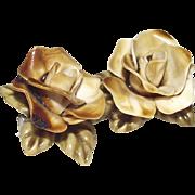 1950s Bone China Pin Two Yellow Roses