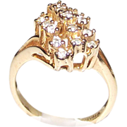 10 kt rolled Ring Yellow Gold with Clear Stones  sz 6.5