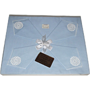 Luncheon Table Cloth and 4 Napkins New in Box Unused Blue & White