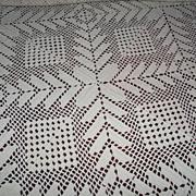 Hand Crochet two Tone Cream Bed Spread c. 1940s – 50s