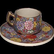 Japanese Satsuma Demi Tasse size Tea Cup and Saucer Chrysanthemums