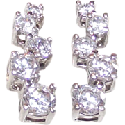 Sterling and Princess Cut Clear C.Z. Journey Earrings