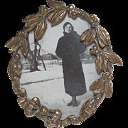 """TINY 1 ½"""" Edwardian Brass Picture Frame"""