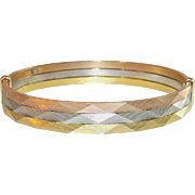 Vintage Tri Color Hard Bangle  Yellow-Silver-Rose