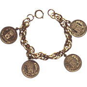 SALE Gold Tone Multi Link Bracelet with French Coins