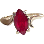 "Circa 1960 Joseph Esposito Marquise ""Ruby"" Ladies Ring sz 7.5"