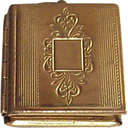Circa 1950s Book Style Locket Machine Etched Top
