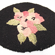Doll House Hooked Rug Pink Roses on Black Background