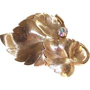 SALE Gold Tone Double Leaf Brooch with Aurora Borealis Stone