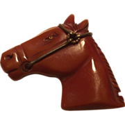 Bakelite Carved Horse Head Pin with Glass Eye  Caramel – Toffee Color