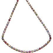SALE Tiny Rhinestone Line Necklace by Avon in Pastel Colors