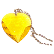 Lemon Color Very Large Glass Heart Pendant