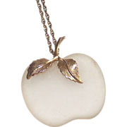 SALE Frosted White Glass Apple Pendant Necklace by Avon