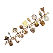 SALE Gold Tone Victorian Charms and Fobs Bracelet