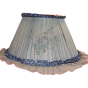 Blue and Pink Silk Chiffon Lamp Shade with Floral Inserts Between Fabric Layers
