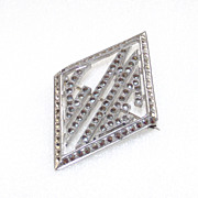 SALE Art Deco Monogram Brooch set with Marcasite's