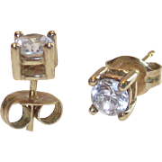 SALE Gold Wash over Sterling 10 Point CZ?  Stud Earrings