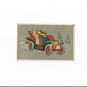 Easter Post Card Chicks Driving Car German Embossed
