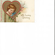 German Valentine Post Card Embossed Cherub with Forget me Nots