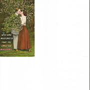 Kissing Couple under Floral Tree Post Card