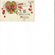Embossed Valentine Post Card Red Poppies