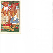 Whitney Lightly Embossed Valentine Post Card with Teddy Bears