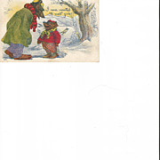 Two Brown Bears Adult and Child with Skates Post Card