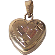 SALE Tiny Baby Heart Shape Locket 14 kt Gold Fill