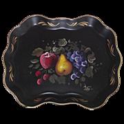 Early Fruit Tole Tray  Wonderful Artist Signed