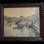 C.1900 Framed Original Photograph of The Rialto Bridge and Gondoliers