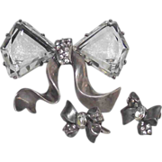 Eisenberg Original Sterling Bow Brooch with Matching Earrings