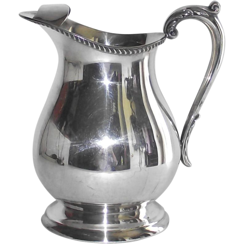 Poole Silver Plate Large Water Pitcher with Ice Lip