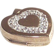 9Kt Yellow Gold Heart Locket with Paved' Diamonds