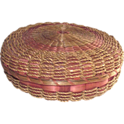SOLD Victorian Sweet Grass Sewing Basket Filled With Buttons, Threads & More