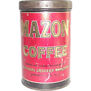 Mazon Coffee Tin Jersey City NJ General Store Advertising