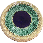 SOLD Majolica Pineapple Cake Plate with Cobalt Center and Rolled Gallery Victorian Era
