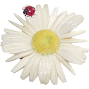 Resin Daisy With Lady Bug Brooch 1960s