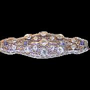 Vintage Edwardian Ceylon Sapphire & Diamond Brooch 14k White Gold