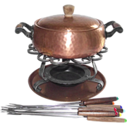 SOLD Copper Fondue Pot Stockli Netstal Swiss Made Hand Hammered 1940's