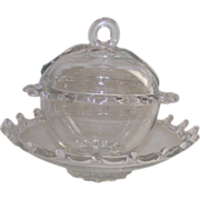 SOLD Heisey Crystal Lariat Covered Candy Dish  &  Bowl