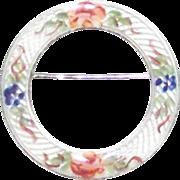 Lamonde Sterling and Guilloche Circular Enamel Floral Brooch