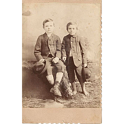 2 Young Farm Boys Cabinet Card