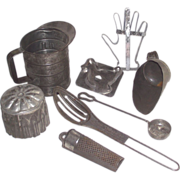 8 Piece Early Tin Kitchen Tools Terrific Unusual Mixed Lot