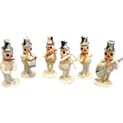 SOLD Vintage Paper Mache Snowman Band Christmas Figurines - made in Japan